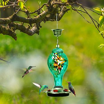 Beautiful Blue and Yellow Hand Blown Glass Hummingbird Feeder - Holds 25 oz of Nectar