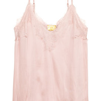 Strappy satin top with lace - Powder pink - | H&M GB