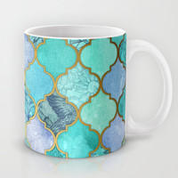 Cool Jade & Icy Mint Decorative Moroccan Tile Pattern Mug by Micklyn