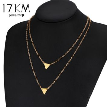 17KM Geometric Triangle Leaves Alloy Gold Color Multilayer Chains Necklace simulated Pearl Bead Necklaces For Women
