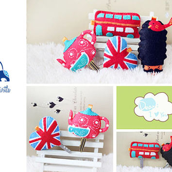 London Style Key Holder Set (Teapot, Big Bus, British Flag and Queen's Guard) DIY Felt Craft Kit OR Finished Product