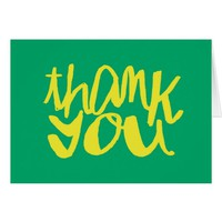Green and Yellow Thank You Hand Lettered Card
