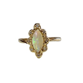 14k Gold Opal and Diamond Halo Ring Engagement Ring Fiery Gemstones .73 ctw