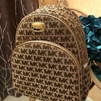 NWT Michael Kors Abbey Beige Brown Gold Backpack School Book Bag MK-HOT!!!