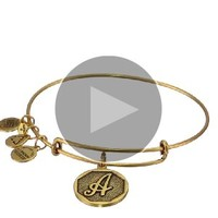 "Alex and Ani Rafaelian Gold Finish Initial ""A"" Expandable Wire Bangle Bracelet, 2.5"""