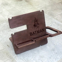 Batman Docking Station Personalized Docking Stand Iphone docking Wooden Stand Gift for Him for men for dad
