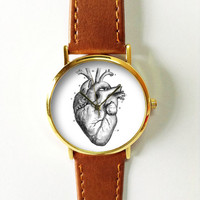 Human Anatomy Heart Watch,  Vintage Style Leather Watch, Women Watches, Boyfriend Watch, Men's Watch, Black and White