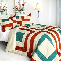 [Sicily] Quilted Patchwork Down Alternative Comforter Set (Full/Queen Size)