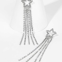 Rhinestone Star Fringe Drop Earrings 1pair