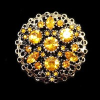 Round Yellow Gold Tone Rhinestone Brooch, Autumn Gold Rhinestones, Opened Work Setting - Vintage 1960s 1970's Pin, Chatons and Marquis