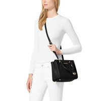 Michael Kors Selby Leather Medium Black Satchels Sale With 60% Off!