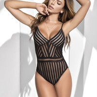 Sexy Stripes Mesh Bodysuit Teddy