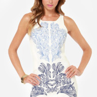 Left My Heart in Manhattan Embroidered Ivory Dress
