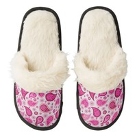 Pink Paisley print Fuzzy Slippers