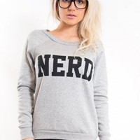 """Grey Long Sleeve Pullover with """"Nerd"""" Print Front"""