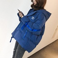 """""""Adidas"""" Women Fashion Multicolor Stitching Webbing Long Sleeve Hoodie Cotton-padded Clothes Coat"""