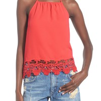 Leith Lace Trim Halter Top | Nordstrom