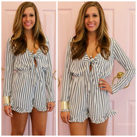 No Competition Ivory Pinstripe Bow Front Romper
