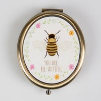 You Are Bee-autiful Oval Compact Mirror   Bees   Sass & Belle