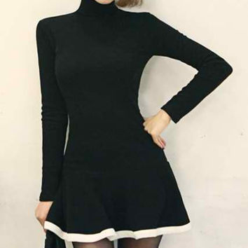 Color Block Turtle Neck Skater Dress