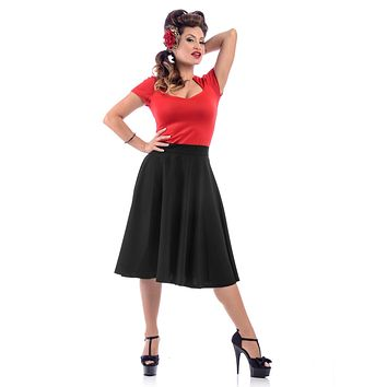 Steady Clothing Plus High Waist Pin-up Office Lady Black Swing Circle Skirt