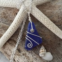 Made in Hawaii, Genuine surf tumbled cobalt sea glass necklace.Handmade wire wrapped beach jewelry