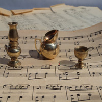 Vintage Intricate Miniature Brass Pitcher, Wine Goblet and Oil Lamp