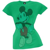 Mickey Mouse - Walking Green Juniors T-Shirt