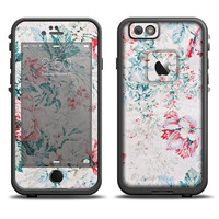 The Coral & Blue Grunge Watercolor Floral Apple iPhone 6 LifeProof Fre Case Skin Set (Other Models Available!)