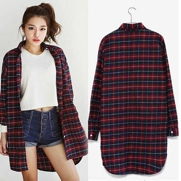 Womens Ladies Button Lapel Shirt Red Plaid Cotton Casual Tee Shirts Blouse Tops Long Sleeve = 5658039041