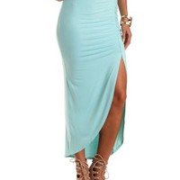 Ruched Front Slit Maxi Skirt by Charlotte Russe - Mint
