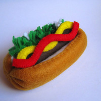 Felt food Hot dog set eco friendly childrens pretend felt play food for kids toy kitchen