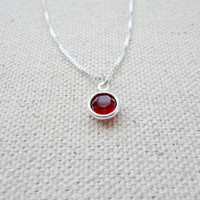 Swarovski birthstone neckace, Tiny crystal necklace, Sterling silver box chain necklace, Wedding jewelry, Bridesmaid gift, Holiday gift
