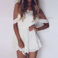 Womens Lace Off Shouder Jumpsuit Bodycon Playsuit Clubwear Party Short Romper Suit