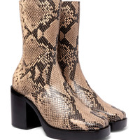 Balenciaga - Snake-Effect Leather Boots