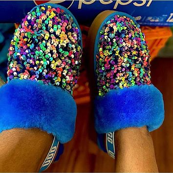 UGG classic fashion platform shoes colorful sequin slippers sexy ladies plush slippers Shoes