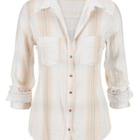 Plaid Button Down With Marbled Buttons - Beige