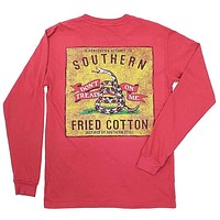 Don't Tread Patch Long Sleeve Tee Shirt in Chili Red by Southern Fried Cotton