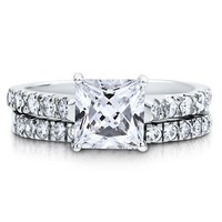 Sterling Silver 925 Princess Cubic Zirconia CZ 2pc Solitaire Ring Set #r428