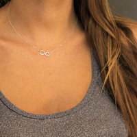 Silver Infinity Necklace, Sterling Silver Infinity Charm Necklace,  Sterling silver Infinity Charm Connector, Bridesmaids Gift
