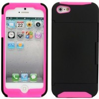 New ID Business Credit Card Holder Stand Hard Case Back Cover for iPhone 5 Hot Pink