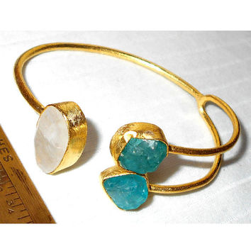 Gold Plated Gemstone Jewelry - Moonstone Cuff Bracelet - Gold Cuff Bracelet - Handmade Stone Jewelry - Gemstone Bangle - Stackable Bracelet