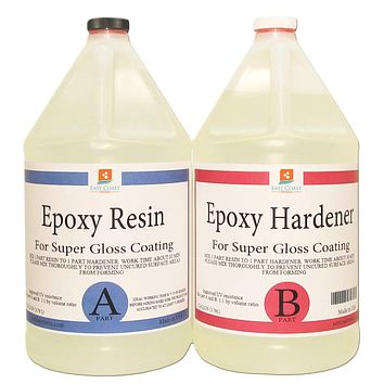 EPOXY Resin Crystal Clear 2 Gallon Kit | 1:1 Resin and Hardener for Super Gloss Coating | For Bars, Outdoor Table Top, Countertop, Art | Safe for Use on Wood, Metal, Stone, Plastic, Marine Sealer