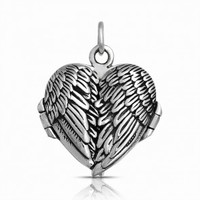 Angel Wing Feather Pendant Heart Locket 925 Sterling Silver