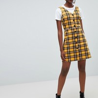 New Look Check Button Through Pinny Dress at asos.com