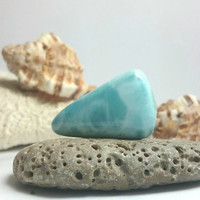 Larimar Teal Blue Cab marbled aqamarine cabochon triangle piece slice turquoise pectolite sea ice green stone 5g 25ct