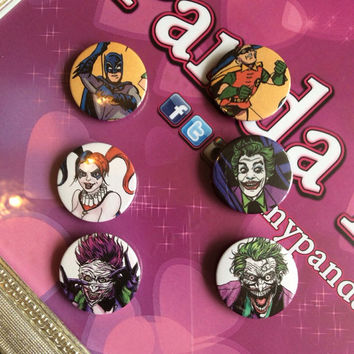 DC Badges Batman, Robin, Joker, Harley Quinn and Joker's daughter