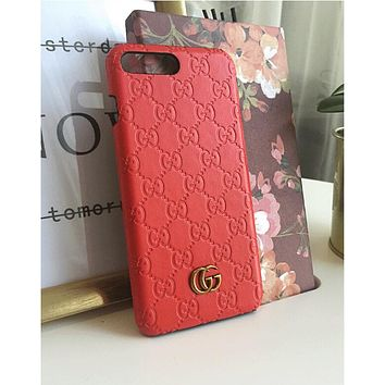 Gucci Stylish Unisex Contracted Letter Pattern Leather iPhone Phone Cover Case For iphone 6 6s 6plus 6s-plus 7 7plus iphone X Red
