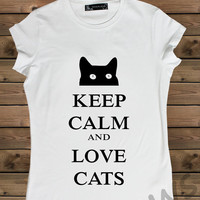 Women's Tshirt, White  Keep Calm  And Cat  on a Bike Ladies Tank,Screen Printing T shirt,Women's T shirt,White T shirt,Size S, M, L