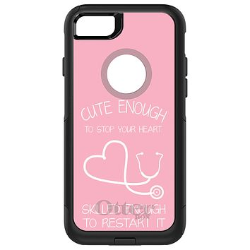 DistinctInk™ OtterBox Commuter Series Case for Apple iPhone or Samsung Galaxy - Pink Nurse Stethoscope Heart